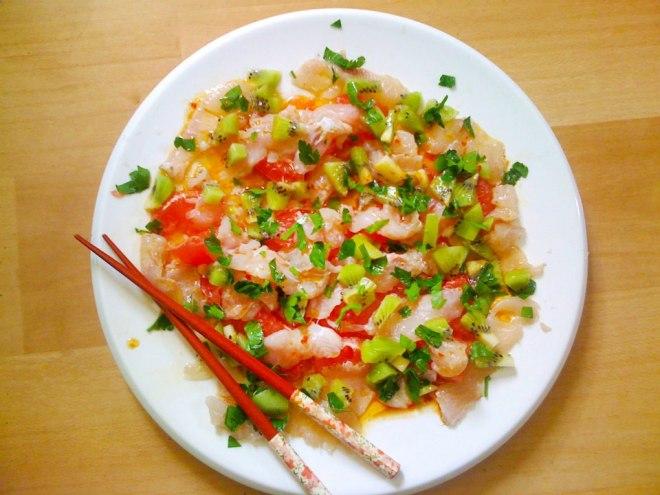 Ceviche sashimi z brancinom in roza grenivko