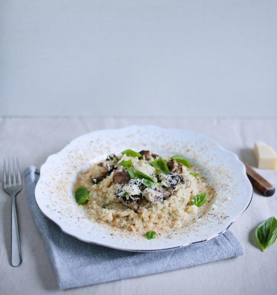 rižota z gobami in gosjimi jetri