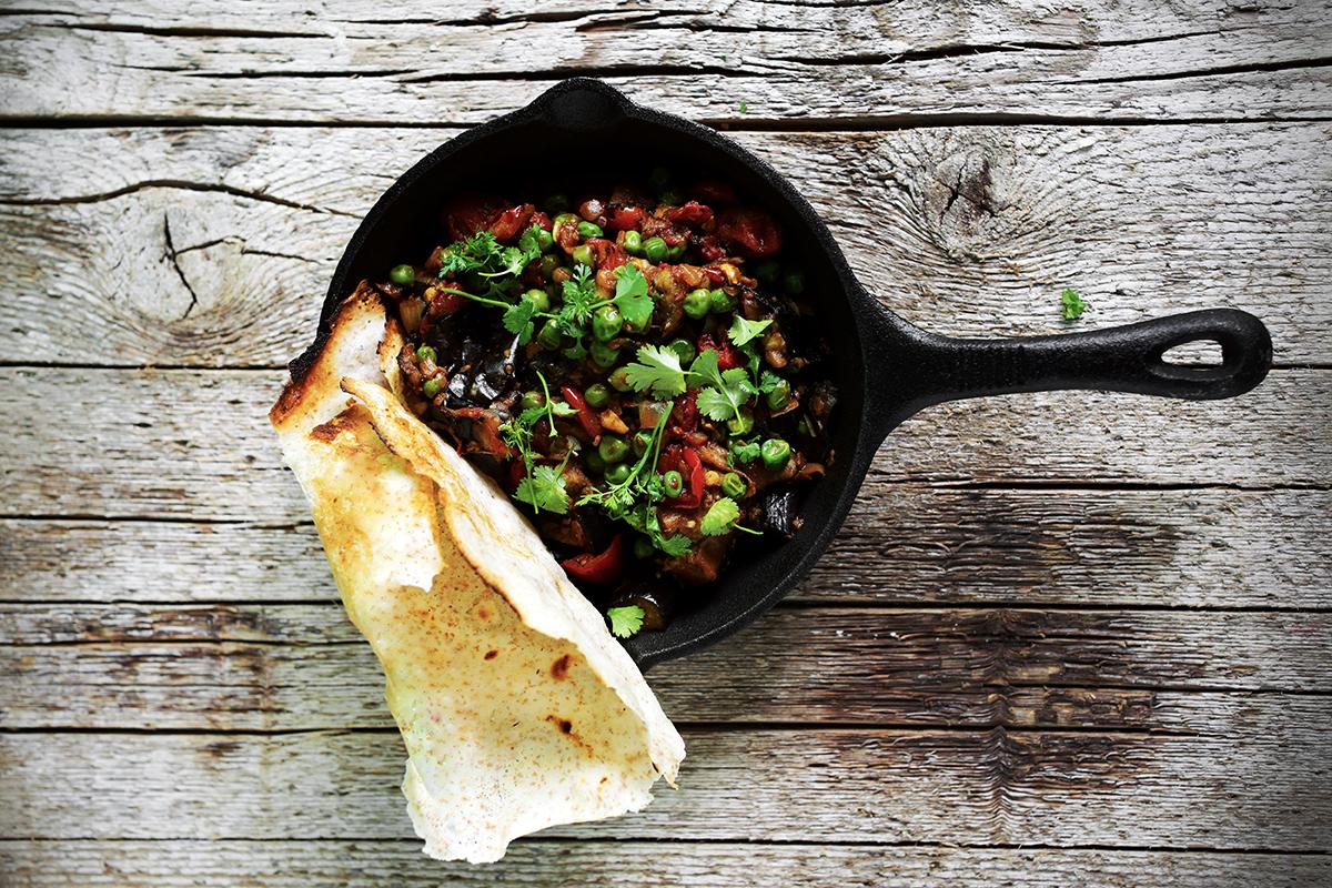 Curry iz jajčevca in dosa